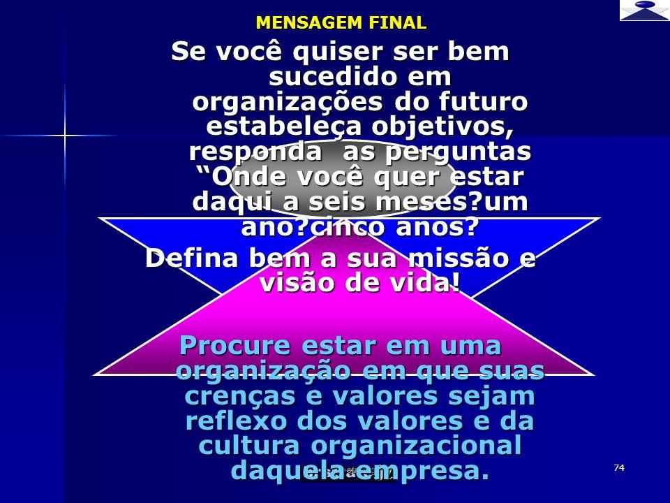br strateg i 74 MENSAGEM FINAL Se você quiser ser bem sucedido em organizações do futuro estabeleça objetivos, responda as perguntas Onde você quer es