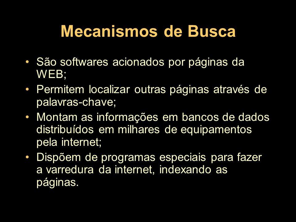 Mecanismos de Busca São softwares acionados por páginas da WEB; Permitem localizar outras páginas através de palavras-chave; Montam as informações em