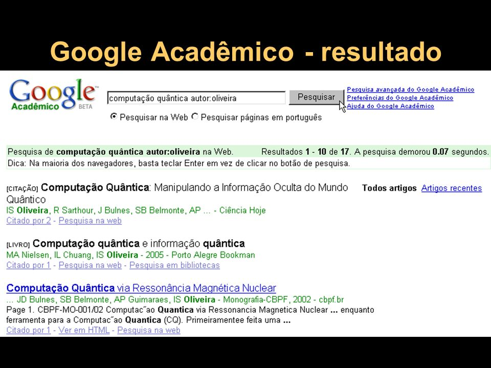 Inclusão do seu site no Google Verificar se já está cadastrado Solicitar o cadastramento, se necessário.