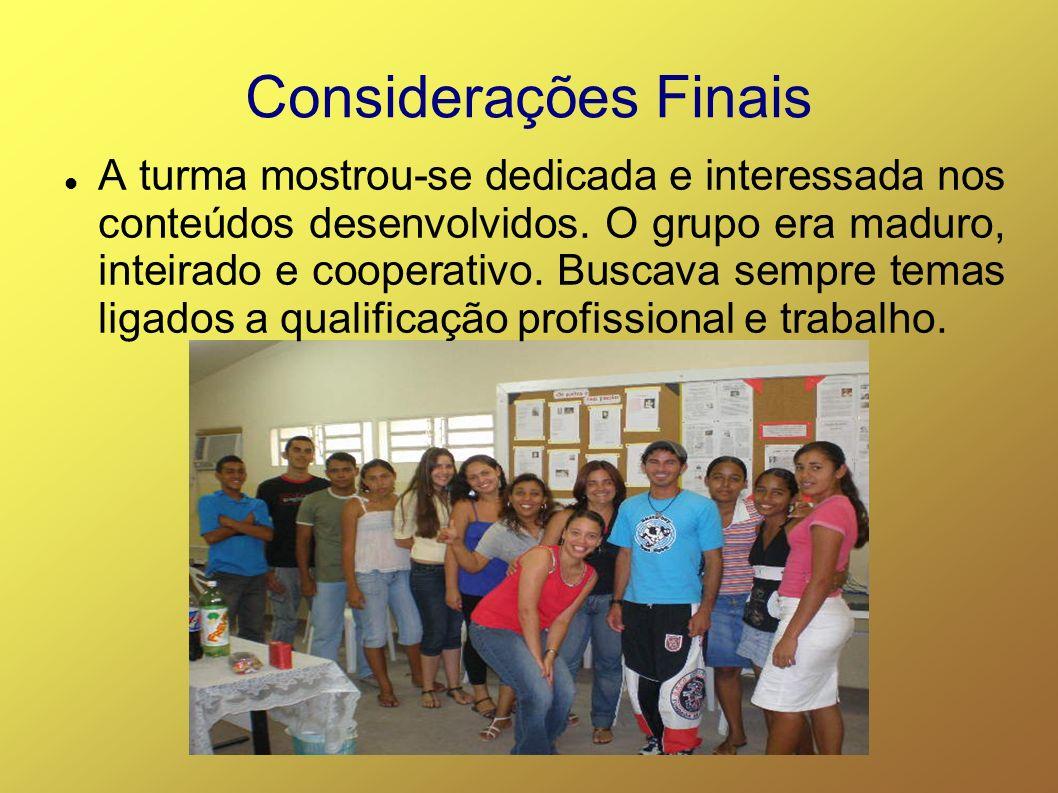 Considerações Finais A turma mostrou-se dedicada e interessada nos conteúdos desenvolvidos.