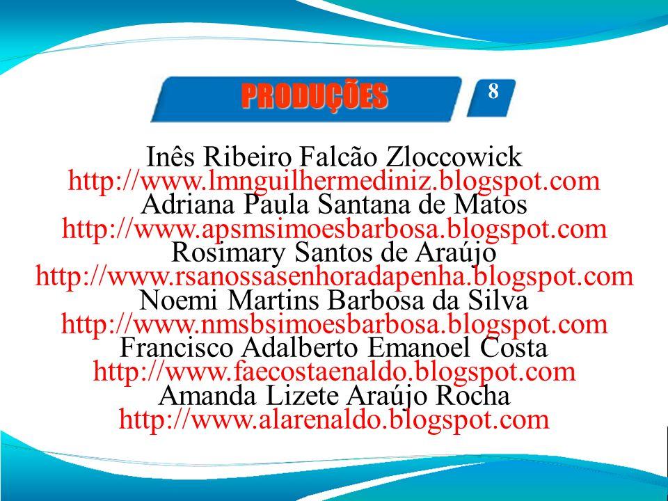 PRODUÇÕES Inês Ribeiro Falcão Zloccowick http://www.lmnguilhermediniz.blogspot.com Adriana Paula Santana de Matos http://www.apsmsimoesbarbosa.blogspo