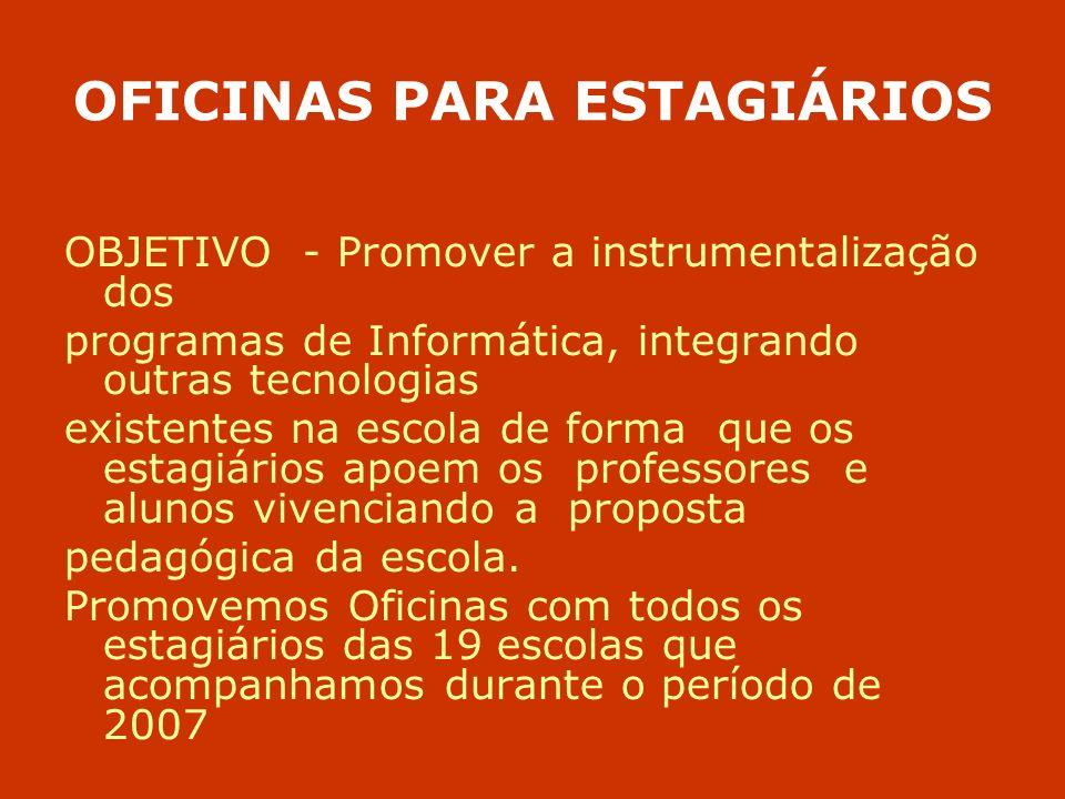 OFICINAS PARA ESTAGIÁRIOS OBJETIVO - Promover a instrumentalização dos programas de Informática, integrando outras tecnologias existentes na escola de