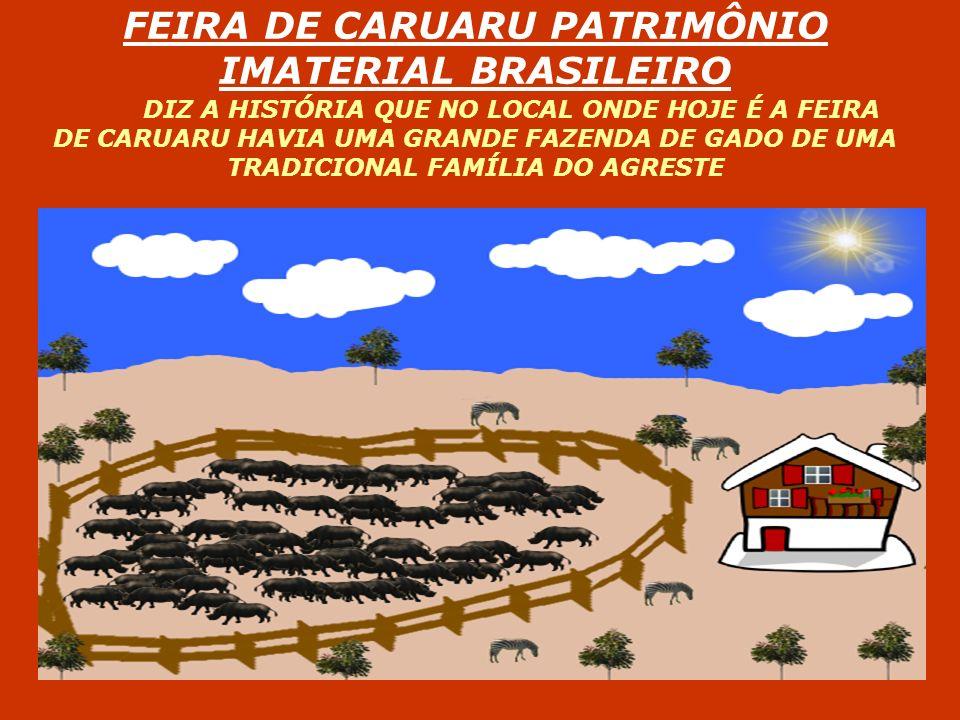 FEIRA DE CARUARU PATRIMÔNIO IMATERIAL BRASILEIRO DIZ A HISTÓRIA QUE NO LOCAL ONDE HOJE É A FEIRA DE CARUARU HAVIA UMA GRANDE FAZENDA DE GADO DE UMA TR