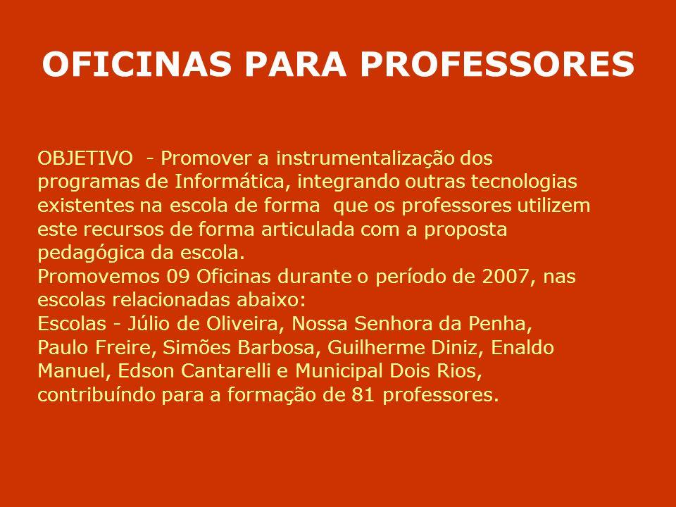OFICINAS PARA PROFESSORES OBJETIVO - Promover a instrumentalização dos programas de Informática, integrando outras tecnologias existentes na escola de