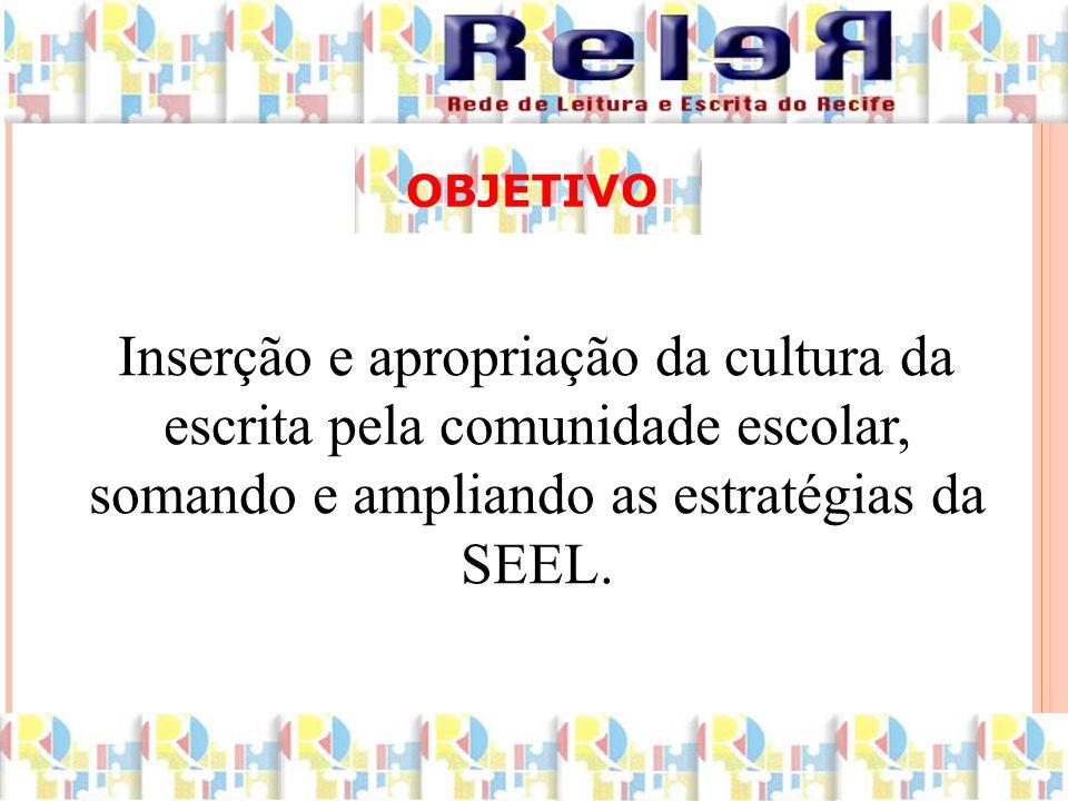 Inserção e apropriação da cultura da escrita pela comunidade escolar, somando e ampliando as estratégias da SEEL.