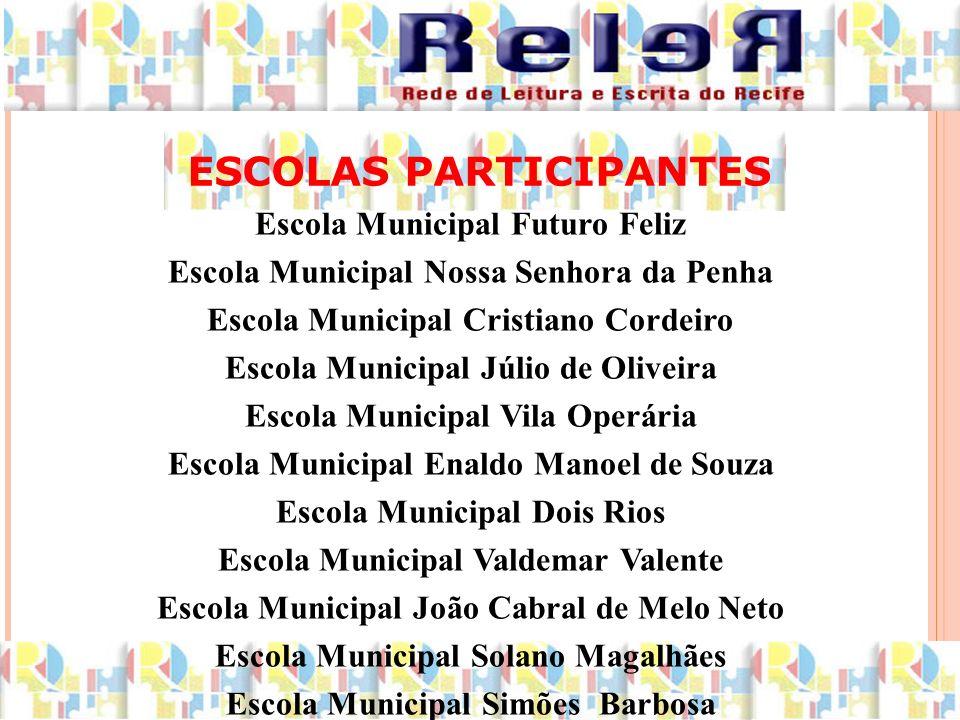 ESCOLAS PARTICIPANTES Escola Municipal Futuro Feliz Escola Municipal Nossa Senhora da Penha Escola Municipal Cristiano Cordeiro Escola Municipal Júlio