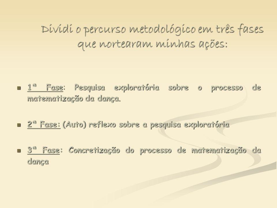 Dividi o percurso metodológico em três fases que nortearam minhas ações: 1ª Fase: Pesquisa exploratória sobre o processo de matematização da dança. 1ª