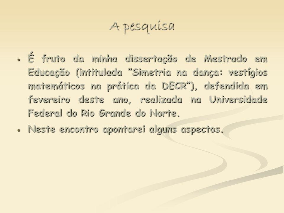 A pesquisa É fruto da minha dissertação de Mestrado em Educação (intitulada Simetria na dança: vestígios matemáticos na prática da DECR), defendida em