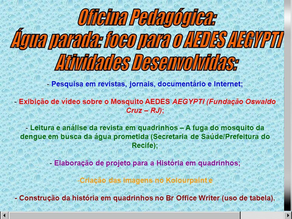 - Pesquisa em revistas, jornais, documentário e Internet; - Exibição de vídeo sobre o Mosquito AEDES AEGYPTI (Fundação Oswaldo Cruz – RJ); - Leitura e