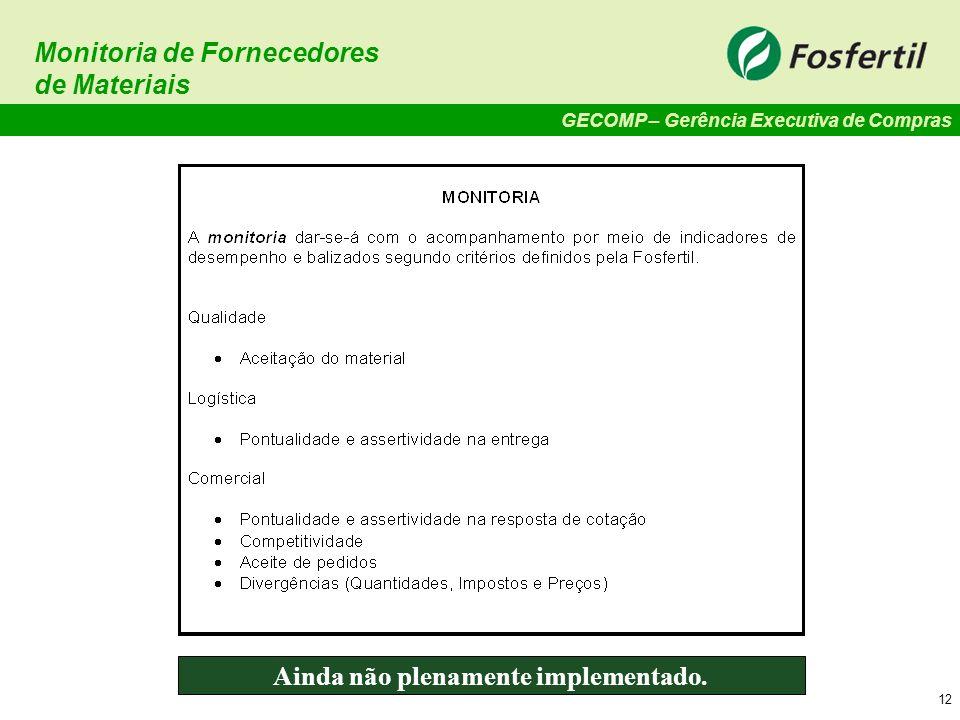 GECOMP – Gerência Executiva de Compras 12 Monitoria de Fornecedores de Materiais Ainda não plenamente implementado.