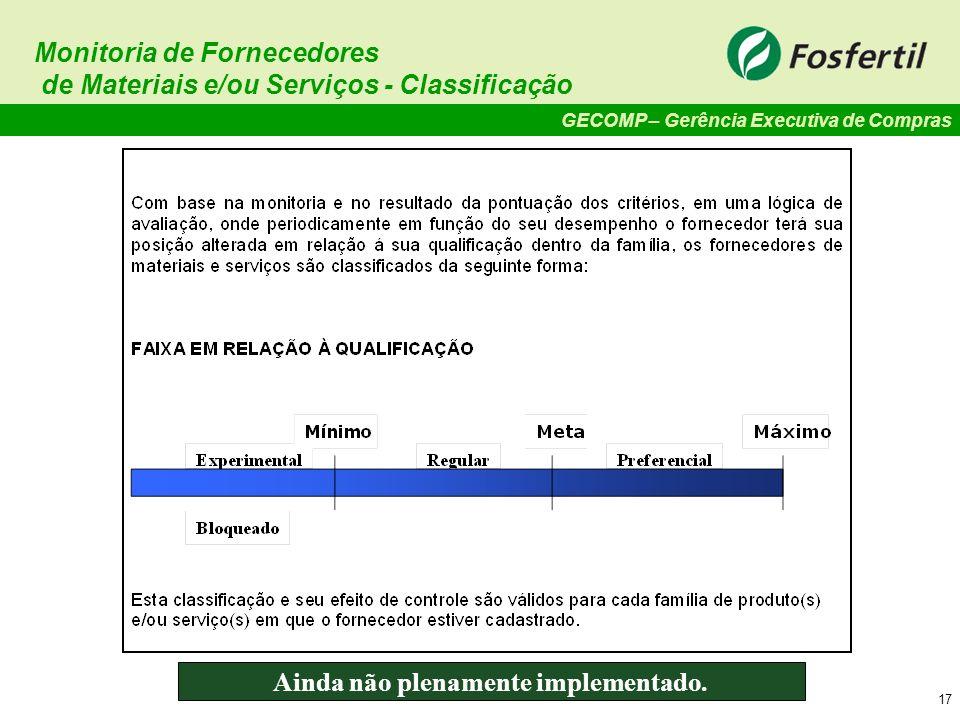 GECOMP – Gerência Executiva de Compras 17 Monitoria de Fornecedores de Materiais e/ou Serviços - Classificação Ainda não plenamente implementado.