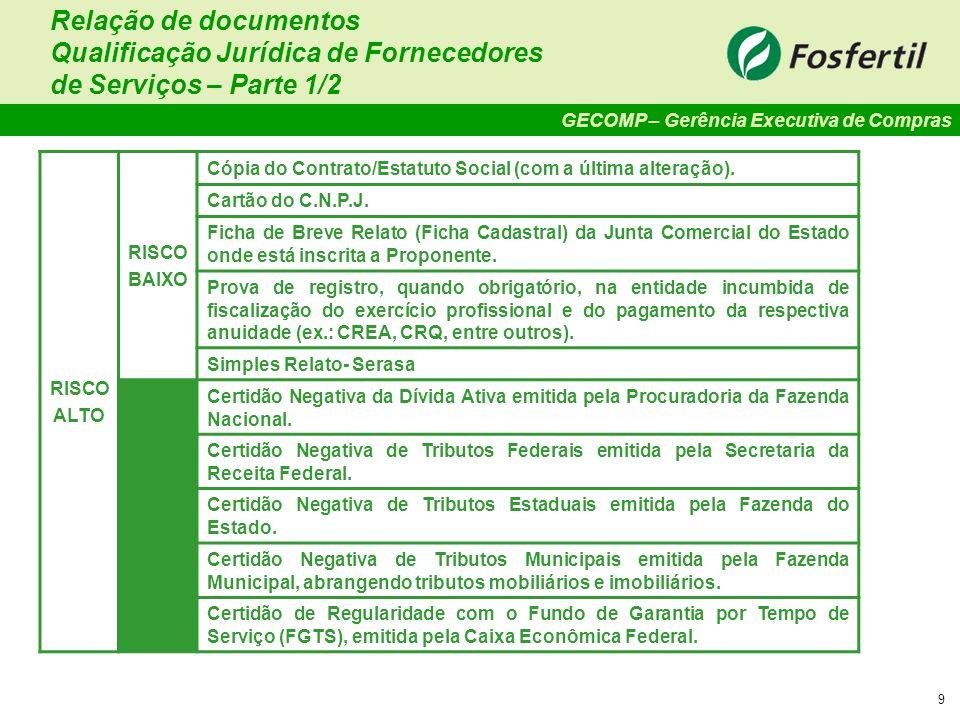 GECOMP – Gerência Executiva de Compras 9 Relação de documentos Qualificação Jurídica de Fornecedores de Serviços – Parte 1/2 RISCO ALTO RISCO BAIXO Có