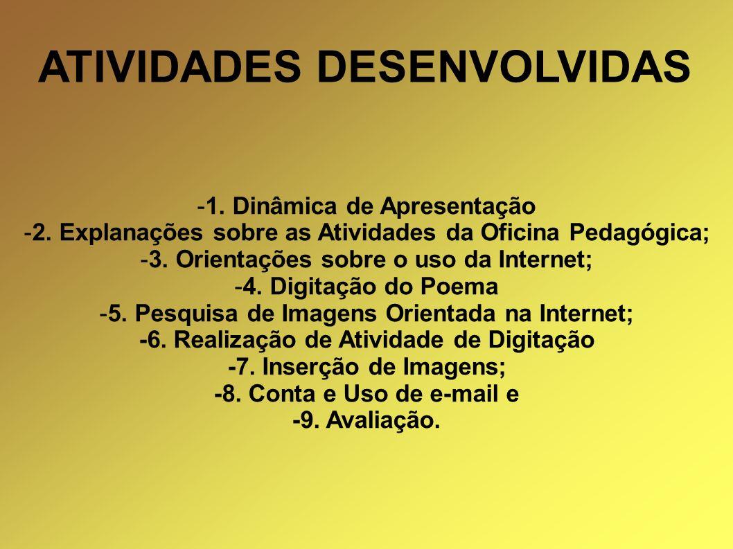 ATIVIDADES DESENVOLVIDAS -1. Dinâmica de Apresentação -2. Explanações sobre as Atividades da Oficina Pedagógica; -3. Orientações sobre o uso da Intern