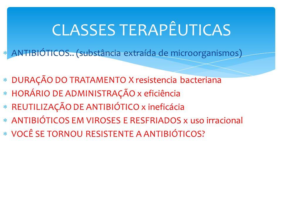 CLASSES TERAPÊUTICAS ANTIBIÓTICOS.. (substância extraída de microorganismos) DURAÇÃO DO TRATAMENTO X resistencia bacteriana HORÁRIO DE ADMINISTRAÇÃO x