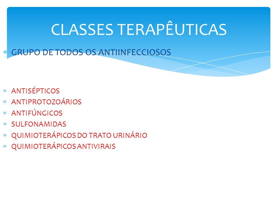 CLASSES TERAPÊUTICAS GRUPO DE TODOS OS ANTIINFECCIOSOS ANTISÉPTICOS ANTIPROTOZOÁRIOS ANTIFÚNGICOS SULFONAMIDAS QUIMIOTERÁPICOS DO TRATO URINÁRIO QUIMI