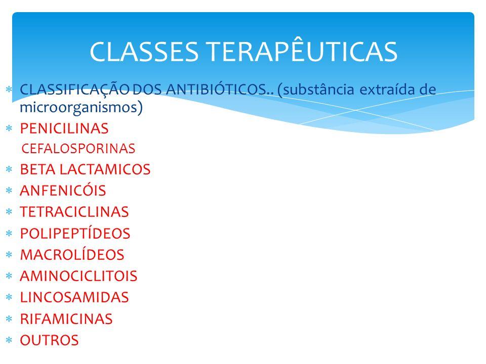 CLASSES TERAPÊUTICAS CLASSIFICAÇÃO DOS ANTIBIÓTICOS.. (substância extraída de microorganismos) PENICILINAS CEFALOSPORINAS BETA LACTAMICOS ANFENICÓIS T