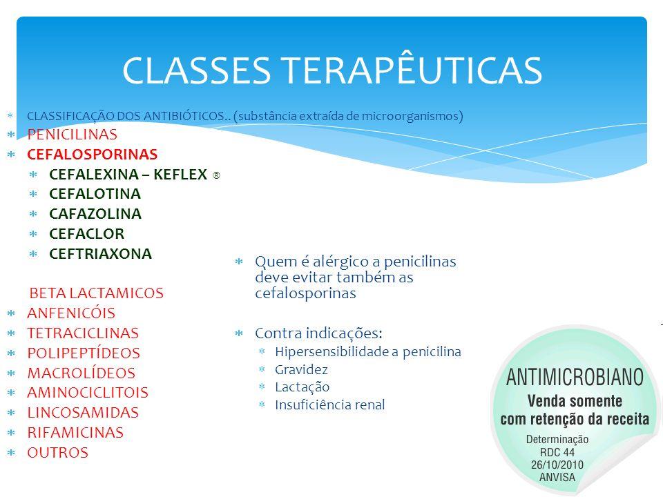 CLASSES TERAPÊUTICAS CLASSIFICAÇÃO DOS ANTIBIÓTICOS.. (substância extraída de microorganismos) PENICILINAS CEFALOSPORINAS CEFALEXINA – KEFLEX ® CEFALO