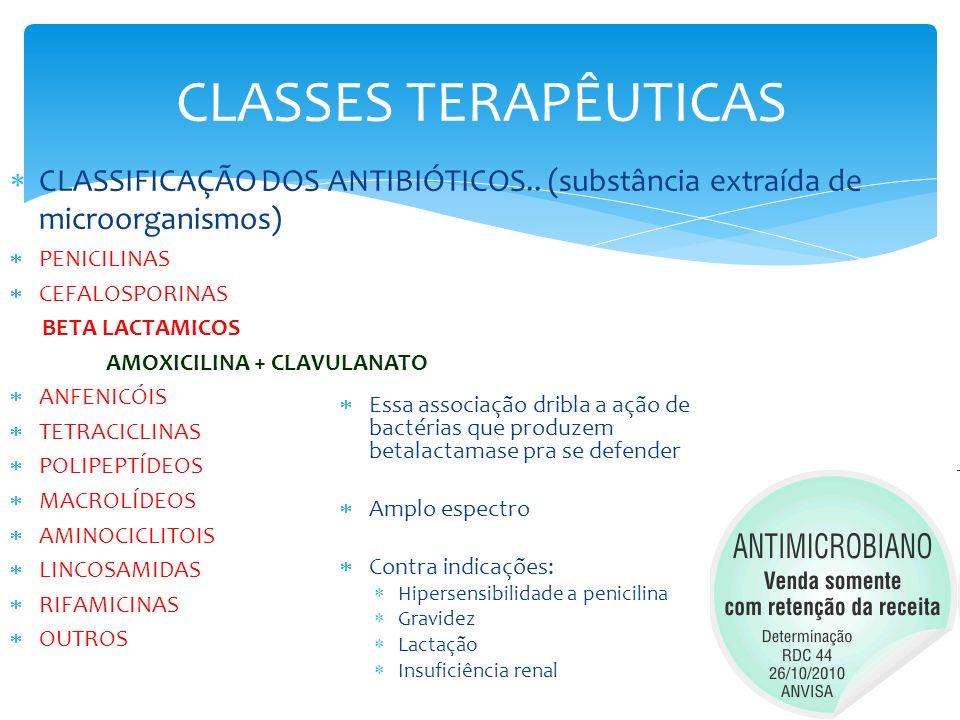 CLASSES TERAPÊUTICAS CLASSIFICAÇÃO DOS ANTIBIÓTICOS.. (substância extraída de microorganismos) PENICILINAS CEFALOSPORINAS BETA LACTAMICOS AMOXICILINA