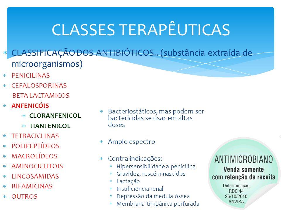 CLASSES TERAPÊUTICAS CLASSIFICAÇÃO DOS ANTIBIÓTICOS.. (substância extraída de microorganismos) PENICILINAS CEFALOSPORINAS BETA LACTAMICOS ANFENICÓIS C