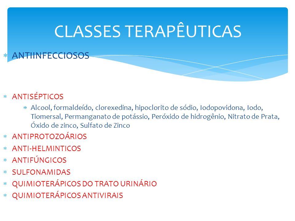 CLASSES TERAPÊUTICAS ANTIINFECCIOSOS ANTISÉPTICOS Alcool, formaldeído, clorexedina, hipoclorito de sódio, Iodopovidona, Iodo, Tiomersal, Permanganato