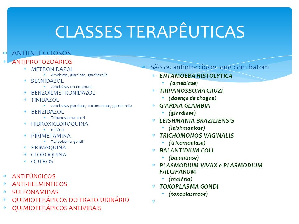 CLASSES TERAPÊUTICAS ANTIINFECCIOSOS ANTIPROTOZOÁRIOS METRONIDAZOL Amebiase, giardiase, gardnerella SECNIDAZOL Amebíase, tricomoníase BENZOILMETRONIDA