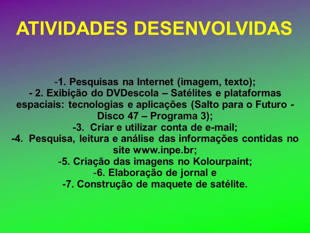 ATIVIDADES DESENVOLVIDAS -1. Pesquisas na Internet (imagem, texto); - 2. Exibição do DVDescola – Satélites e plataformas espaciais: tecnologias e apli