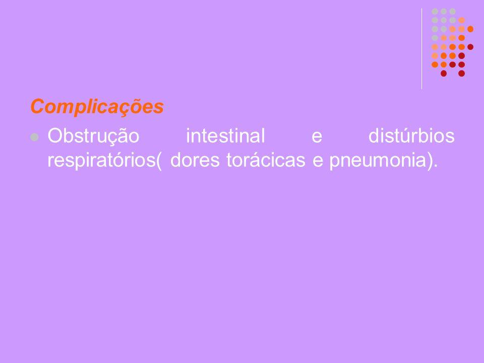 Complicações Obstrução intestinal e distúrbios respiratórios( dores torácicas e pneumonia).