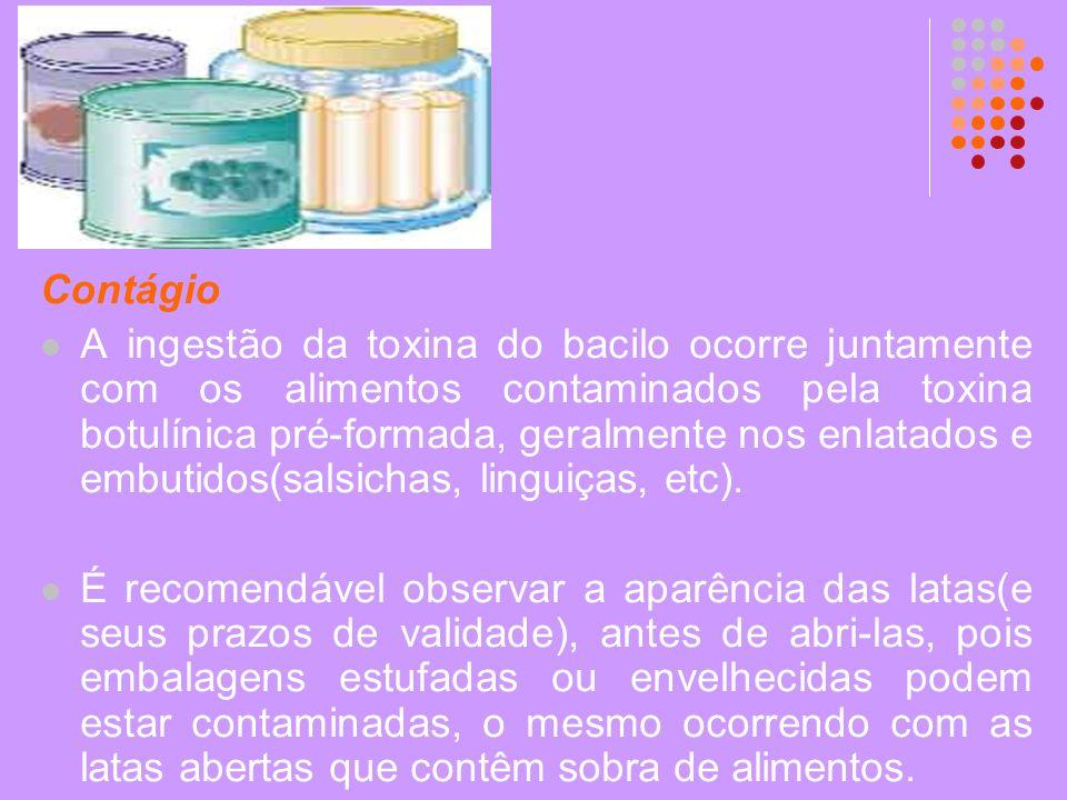 Contágio A ingestão da toxina do bacilo ocorre juntamente com os alimentos contaminados pela toxina botulínica pré-formada, geralmente nos enlatados e
