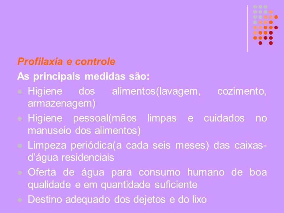 Profilaxia e controle As principais medidas são: Higiene dos alimentos(lavagem, cozimento, armazenagem) Higiene pessoal(mãos limpas e cuidados no manu