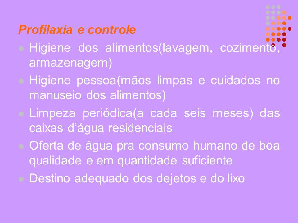 Profilaxia e controle Higiene dos alimentos(lavagem, cozimento, armazenagem) Higiene pessoa(mãos limpas e cuidados no manuseio dos alimentos) Limpeza