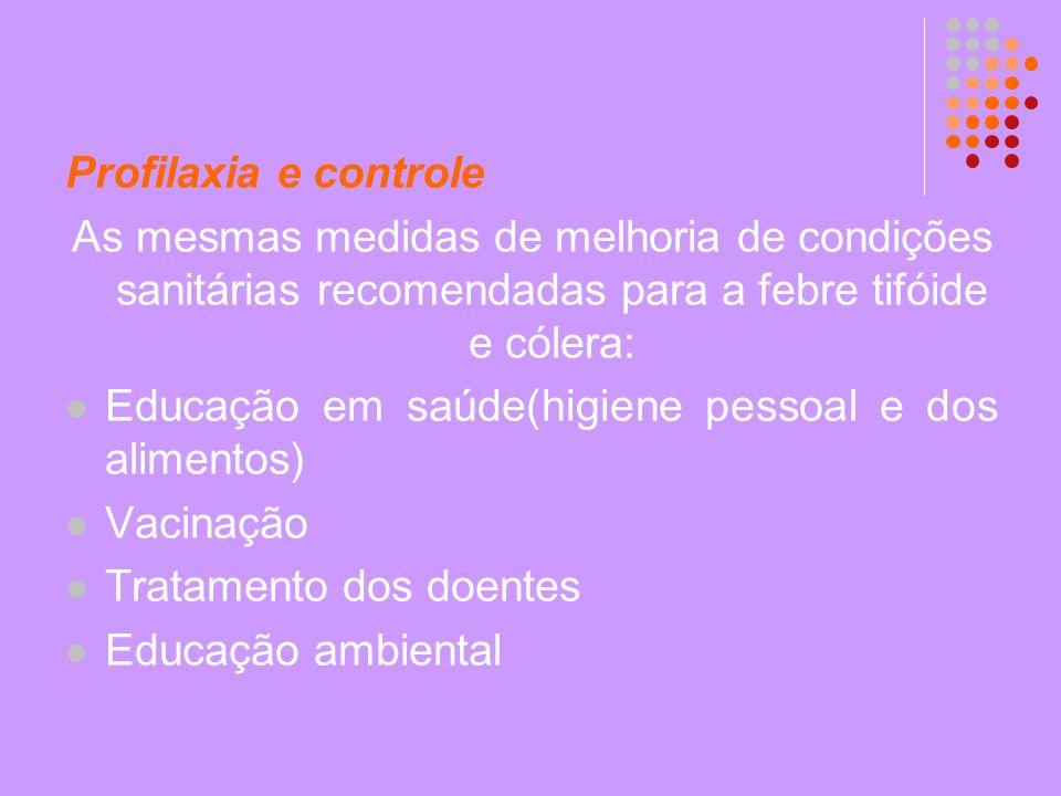 Profilaxia e controle As mesmas medidas de melhoria de condições sanitárias recomendadas para a febre tifóide e cólera: Educação em saúde(higiene pess