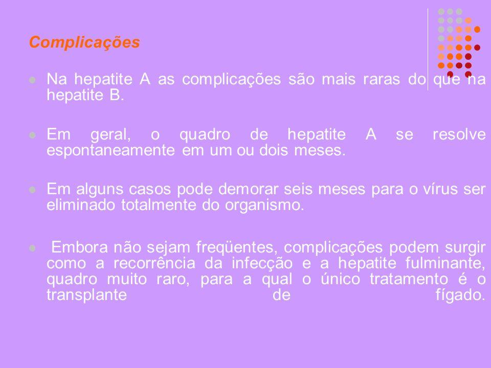 Complicações Na hepatite A as complicações são mais raras do que na hepatite B. Em geral, o quadro de hepatite A se resolve espontaneamente em um ou d