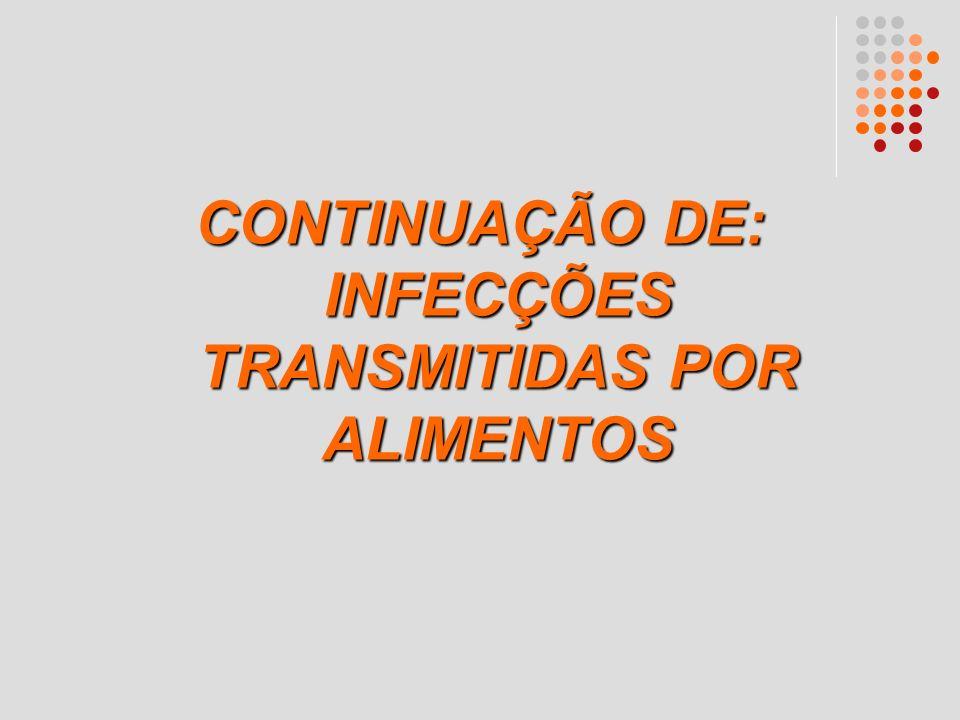 CONTINUAÇÃO DE: INFECÇÕES TRANSMITIDAS POR ALIMENTOS