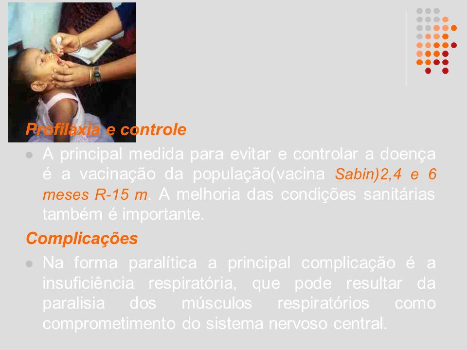Profilaxia e controle A principal medida para evitar e controlar a doença é a vacinação da população(vacina Sabin)2,4 e 6 meses R-15 m. A melhoria das