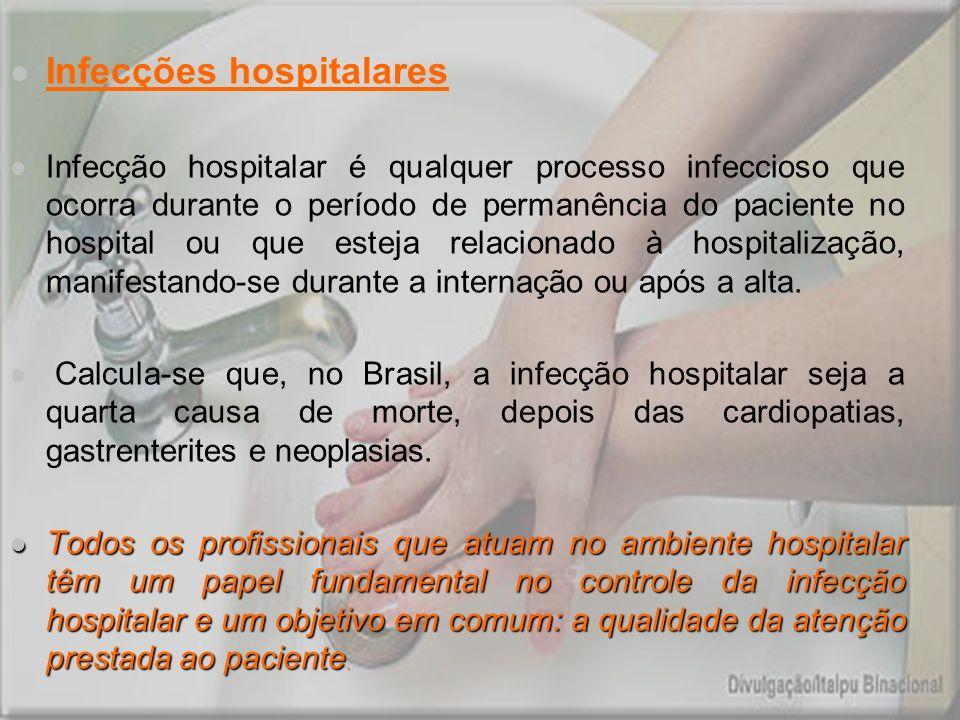 Infecções hospitalares Infecção hospitalar é qualquer processo infeccioso que ocorra durante o período de permanência do paciente no hospital ou que e
