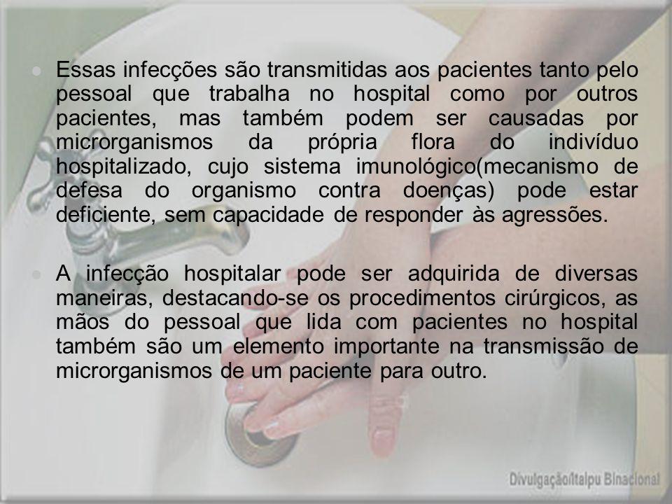 Essas infecções são transmitidas aos pacientes tanto pelo pessoal que trabalha no hospital como por outros pacientes, mas também podem ser causadas po