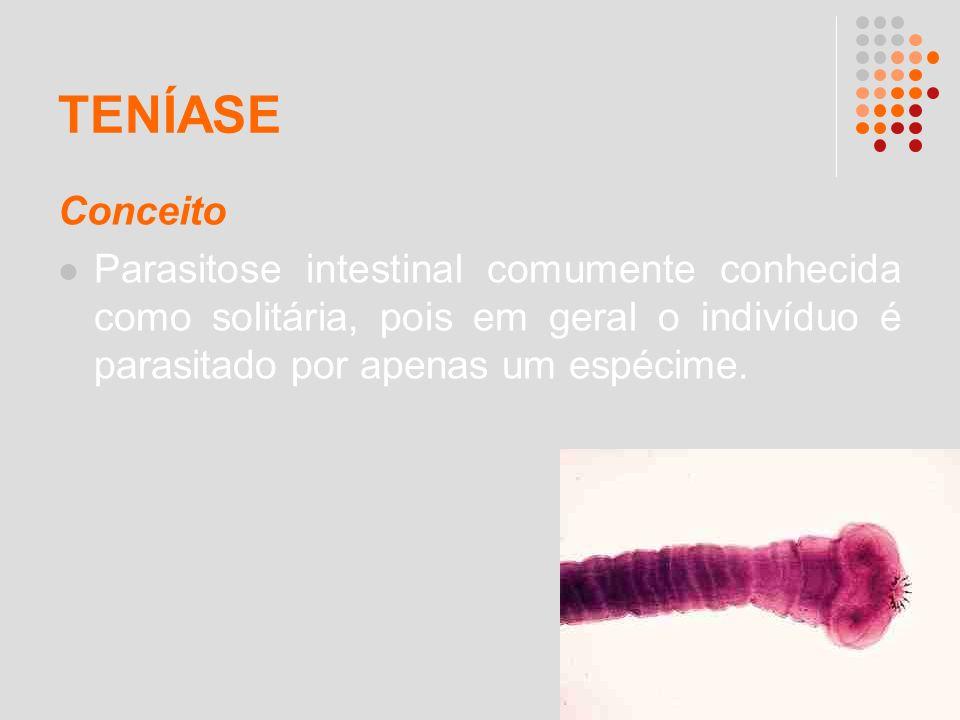 TENÍASE Conceito Parasitose intestinal comumente conhecida como solitária, pois em geral o indivíduo é parasitado por apenas um espécime.