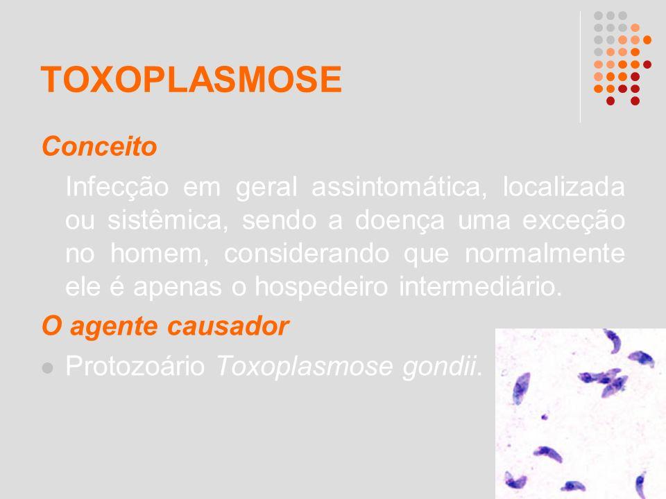TOXOPLASMOSE Conceito Infecção em geral assintomática, localizada ou sistêmica, sendo a doença uma exceção no homem, considerando que normalmente ele
