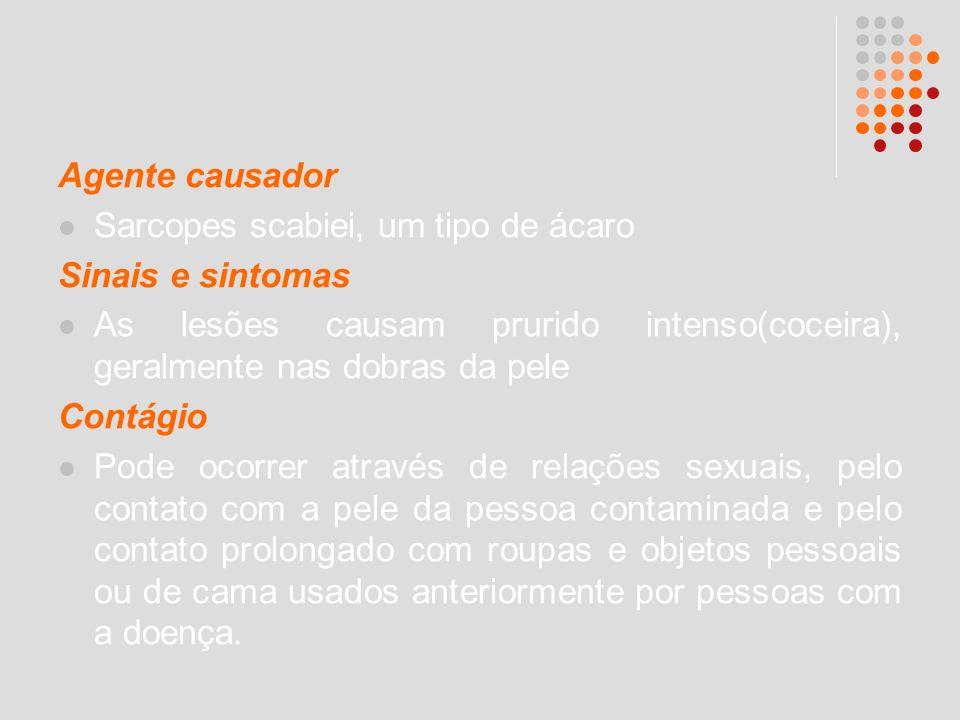 Agente causador Sarcopes scabiei, um tipo de ácaro Sinais e sintomas As lesões causam prurido intenso(coceira), geralmente nas dobras da pele Contágio