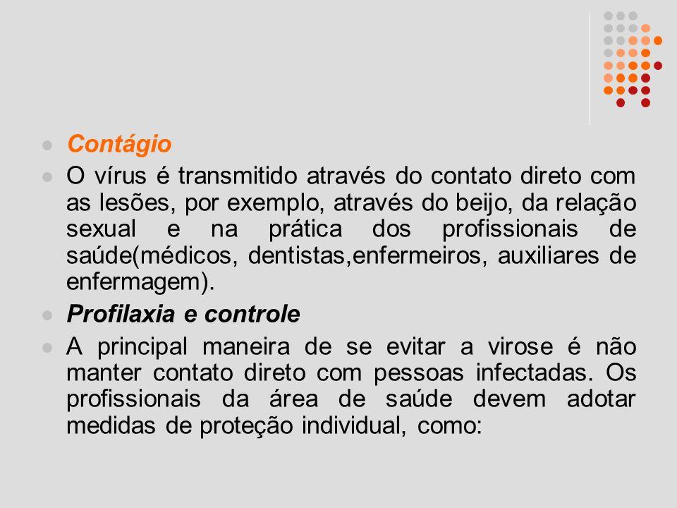 Contágio O vírus é transmitido através do contato direto com as lesões, por exemplo, através do beijo, da relação sexual e na prática dos profissionai
