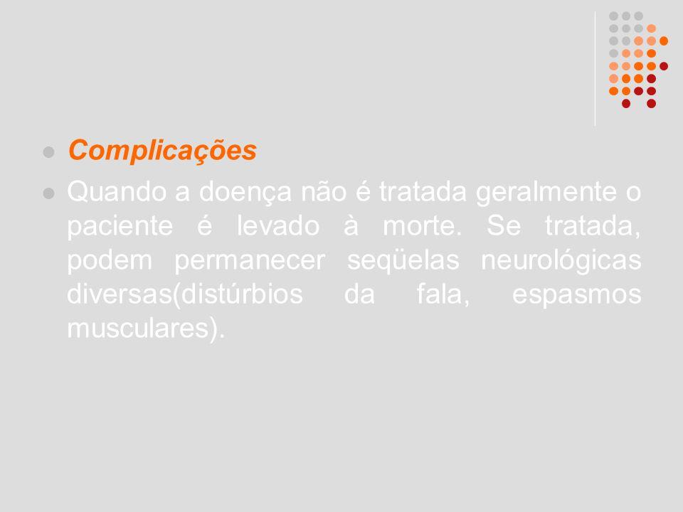Complicações Quando a doença não é tratada geralmente o paciente é levado à morte. Se tratada, podem permanecer seqüelas neurológicas diversas(distúrb