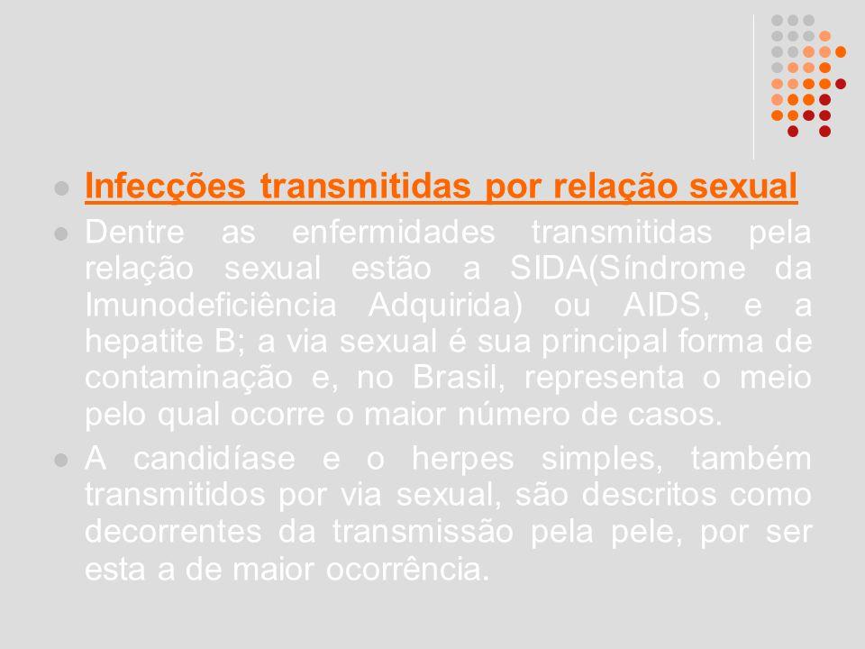 Infecções transmitidas por relação sexual Dentre as enfermidades transmitidas pela relação sexual estão a SIDA(Síndrome da Imunodeficiência Adquirida)