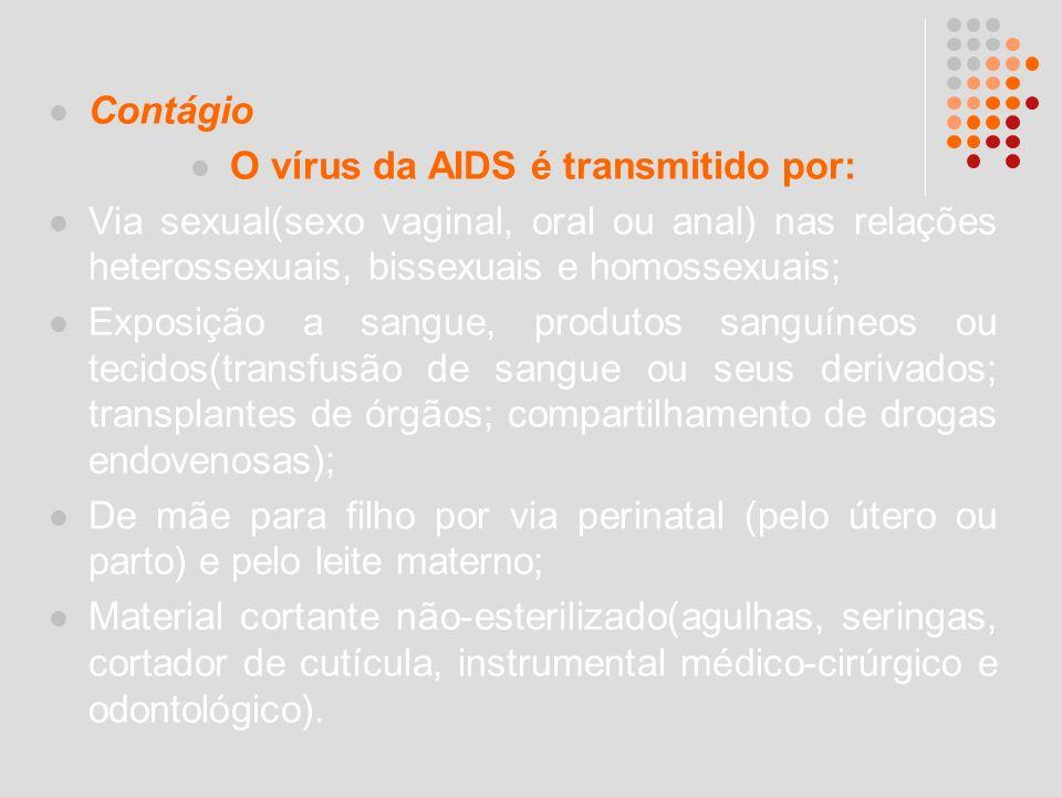 Contágio O vírus da AIDS é transmitido por: Via sexual(sexo vaginal, oral ou anal) nas relações heterossexuais, bissexuais e homossexuais; Exposição a
