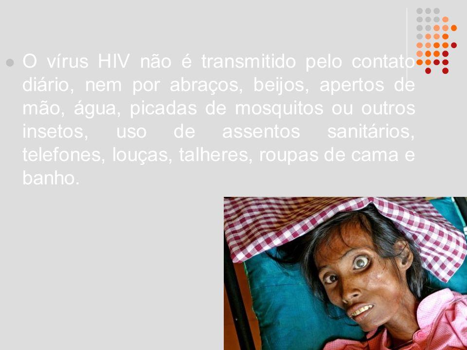 O vírus HIV não é transmitido pelo contato diário, nem por abraços, beijos, apertos de mão, água, picadas de mosquitos ou outros insetos, uso de assen