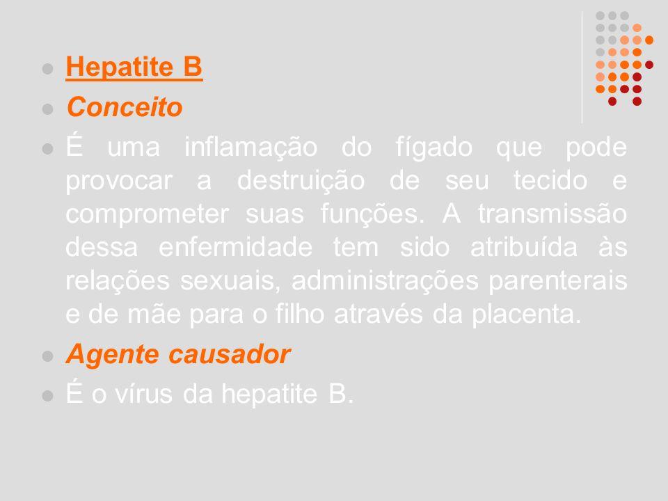 Hepatite B Conceito É uma inflamação do fígado que pode provocar a destruição de seu tecido e comprometer suas funções. A transmissão dessa enfermidad