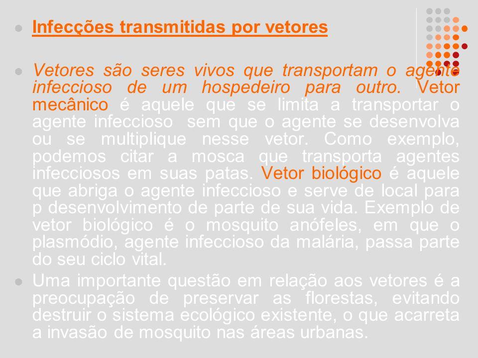 Infecções transmitidas por vetores Vetores são seres vivos que transportam o agente infeccioso de um hospedeiro para outro. Vetor mecânico é aquele qu