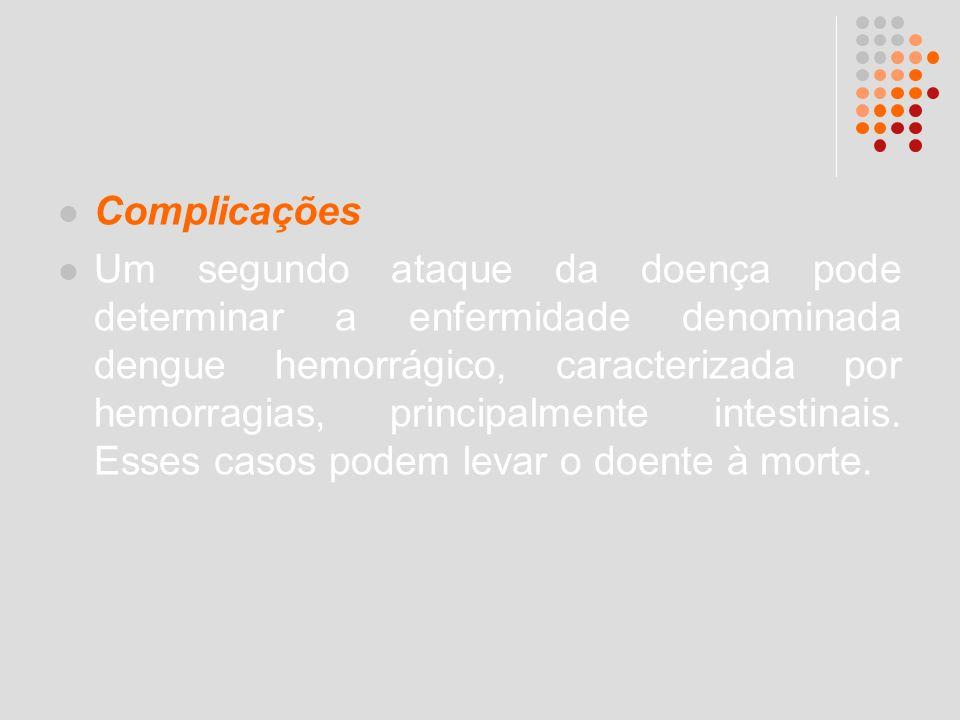 Complicações Um segundo ataque da doença pode determinar a enfermidade denominada dengue hemorrágico, caracterizada por hemorragias, principalmente in