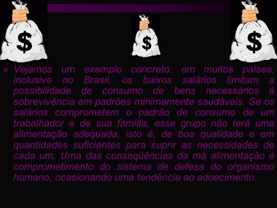 Vejamos um exemplo concreto: em muitos países, inclusive no Brasil, os baixos salários limitam a possibilidade de consumo de bens necessários à sobrev