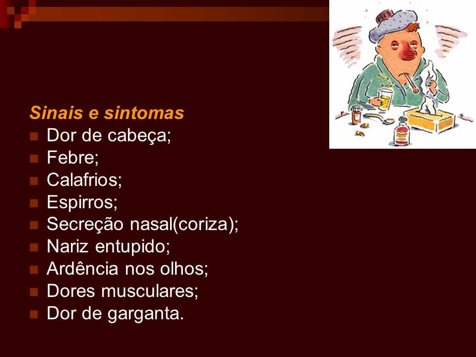 Sinais e sintomas Dor de cabeça; Febre; Calafrios; Espirros; Secreção nasal(coriza); Nariz entupido; Ardência nos olhos; Dores musculares; Dor de garg