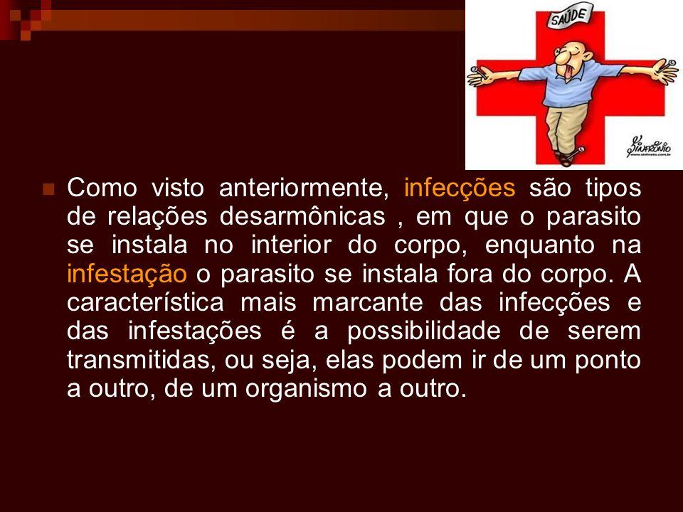 Como visto anteriormente, infecções são tipos de relações desarmônicas, em que o parasito se instala no interior do corpo, enquanto na infestação o pa
